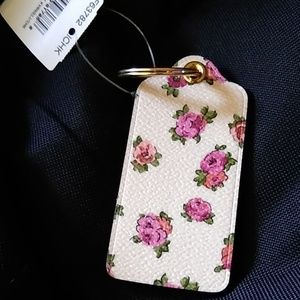 Cream and pink floral COACH keychain gold hardware
